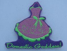 Domestic Goddess! Patch/Applique Iron On 3.5 X 4.25