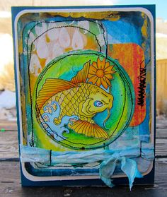 """Painted & Stitched card by Nicole Maki featuring the Balzer Designs """"Rain"""" stencil in the background!"""