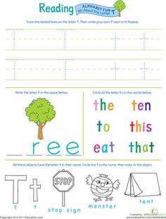 Worksheets: Get Ready for Reading: All About the Letter T