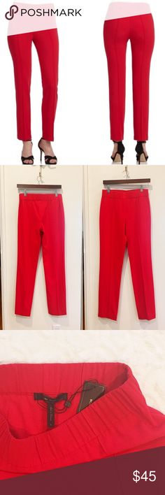 "🆕 BCBG Max Azria red Maria pants NWT Maria pants in Rio Red. Length is 40"". Inseam is about 31"". Waist is about 14.5"". From their website: A slim and easy silhouette makes these pants the perfect choice for the workday or weekend.  Mid-rise waist. Straight leg. Center seams at front. Elastic waist. Crepe: Polyester, Rayon, Spandex. BCBGMaxAzria Pants Skinny"