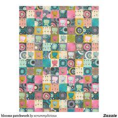 blooms patchwork fleece blanket #blanket #zazzle #patchwork #fleece #retro #flowers #home #bed
