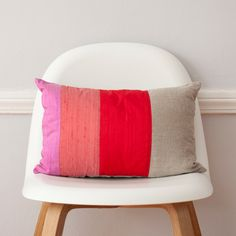 Striped Red Lumbar Colorblock Silk and Linen Pillow - 12 x 18 Inches