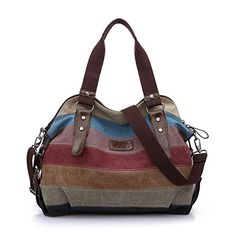 WAWJ la lona Hobos de los Multicolor totalizadores del bolso de las mujeres bolsos de hombro