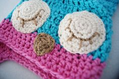 Sleepy Owl Hat in Turquoise and Pink 612 Months by ReiLynnDesigns, $25.00