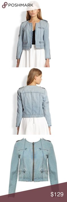 Alice + Olivia Denim Zipper Biker Jacket So cute and perfectly on trend! Excellent condition - like new! Size small. Alice + Olivia Jackets & Coats Jean Jackets