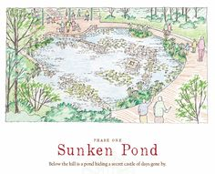 Sketch of the proposed Sunken Pond, part of Lost Hollow: The Kimbrell Children's Garden, at Daniel Stowe Botanical Garden