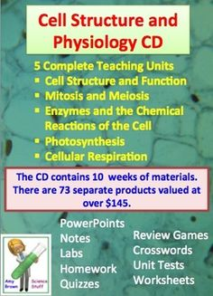 Cell Structure, Function and Physiology CD - 5 Complete units.  By far, my most popular products are my complete unit plan bundles. This CD contains 5 of my best selling units:  Cell Structure and Function Unit,  Mitosis and Meiosis,  Enzymes and the Chemical Reactions of the Cell,  Photosynthesis,  Cellular Respiration.  $