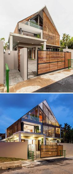 New Ideas For House Modern Exterior Architecture Architecture Design, Facade Design, Residential Architecture, Exterior Design, Tropical Architecture, Modern Tropical House, Tropical House Design, Tropical Houses, Modern Fence Design