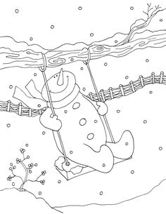 Coloring pages swing snowman s kids Christmas Embroidery Patterns, Applique Patterns, Hand Embroidery Designs, Christmas Coloring Pages, Coloring Book Pages, Cross Stitch Embroidery, Machine Embroidery, Ribbon Embroidery, Copics