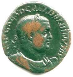 Coin depicting Balbinus, co-emperor in year 238, and the 31st Roman Emperor.