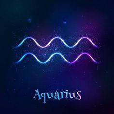 Bleu brillant cosmique néon zodiaque symbole Aquarius vectoriel Banque d'images - 45876345
