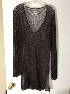 Chico s women Size 2 Medium Sweater Brown Metallic Open Knit Crochet Vneck  1001  Chicos   b006e309b