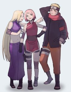 Ino, Sakura, and Naruto [by https://twitter.com/supermoichan]