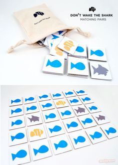 """""""Don't Wake The Shark"""" - DIY Matching Pairs Game, with a twist....  The race is on to find the missing clown fish… but don't wake the shark, or he will eat up your turn… 