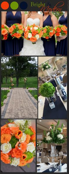 Glendale Florist | Bright Modern and Bold Colored Scheme Wedding, Modern Wedding, Hanging Green Flower Balls, Tall Centerpieces With Bells of Ireland, Outdoor Wedding Ceremony