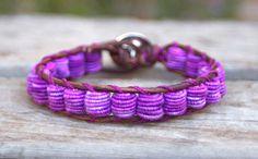 Boho Leather Bracelet, Shabby Chic, Fabric Textile Beads, PURPLE