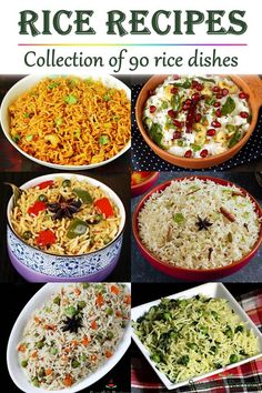 Collection of over 90 rice recipes with step by step photos & videos. Recipes include quick one pot rice dishes which are simple and easy to make. Vegetarian Rice Recipes, Easy Rice Recipes, Easy Indian Recipes, Veg Recipes, Easy Dinner Recipes, Cooking Recipes, Healthy Recipes, Ethnic Recipes, Vegetarian Cooking