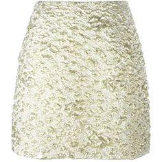 Kenzo Cloqué Mini Skirt (¥25,320) ❤ liked on Polyvore featuring skirts, mini skirts, metallic, metallic mini skirt, high waisted mini skirt, short miniskirt, mini skirt and high rise skirts