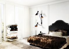 Bedroom Design | FRANK Chest of Drawers by Boca do Lobo and SIMONE Wall Light | Modern Interior Design. Bedroom Decor.  #bedroomdesign #walllight #walllamps  Find more about it: http://www.wallmirrors.eu