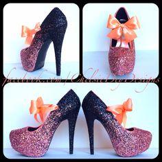 Coral Fade Glitter High Heels