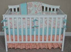 Crib Bedding In Coral, Gray And Aqua/mint-many Different Ordering Options Listed…