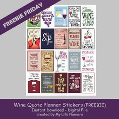Yay! It's Friday and we are kicking it off knowing that is it 5 o'clock somewhere. This week Freebie Friday is featuring Wine Quotes for all the wine lovers out there. May these stickers bring you a smile and help you look forward to Wine Hour. These stickers will fit most planners but are thestandardRead More