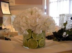 Natural Green Wedding Centerpieces Design - Blue Hydrangea Centerpieces Wedding Ideas *Rosie's Note: Loving the lime pieces to kinda dress it down.