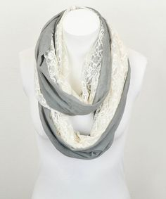 Take+a+look+at+the+Gray+&+White+Lace+Mix+Infinity+Scarf+on+#zulily+today!