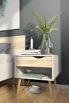 Amazon.com: Tvilum Diana 1 Drawer Nightstand, White / Oak Structure, 7539449AK: Home & Kitchen