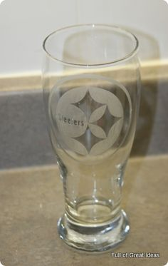 diy nfl etched glass.... Packers glasses for the husband!