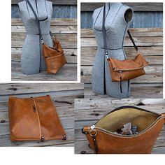 Boho Bag / Cross Body Bag  Camel Tan   Leather Fold от FeralEmpire