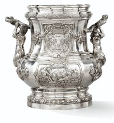 German Silver Wine Cooler After Juste Aurele Meissonnier, Spurious French Marks Circa 1880