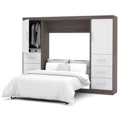 """Bestar Nebula 109"""""""" Full Wall Bed Kit (3,320 CAD) ❤ liked on Polyvore featuring home, furniture, beds, grey, grey furniture, grey storage bed, systems furniture, storage furniture and gray bed"""