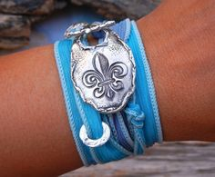 Rustic Jewelry Gift for Her, Rustic STERLING Silver Bracelet, Rustic Fleur de Lis Gift Idea for Women, Rustic Wrap Bracelet Sterling Silver