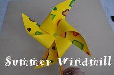Summer windmills - construction paper, crayons, pencil, push pin