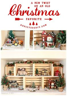 Give your traditional Christmas village a new look and utilize vertical space with crates! They are also a great way to decorate year round! #sawdustandsnow