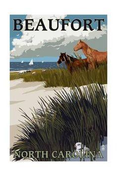 Beaufort, North Carolina - Horses and Dunes Art Print by Lantern Press at Art.com