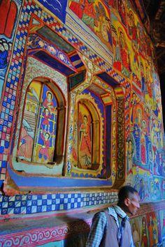 The wall paintings inside Ura Kidane Mehret, an island monastery on Lake Tana  https://johninsomaliland.files.wordpress.com/2012/04/070.jpg