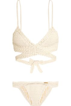 She Made Me | Crocheted cotton triangle bikini | NET-A-PORTER.COM