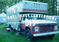 Have you ever wondered what happens to all retired U-Haul trucks? Read more to check out these interesting truck conversions! Small Truck Camper, Truck Camper Shells, Small Trucks, Small Campers, Bus Camper, Rv Bus, Cargo Trailer Conversion, Camper Conversion, Rv Travel Trailers