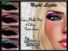 "Second Life Marketplace - .::DMD::.""Night Lights"" eyeshadows 6 colors"