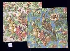 """2 POTTERY BARN GIORGETTA BIRD PILLOW COVERS 24"""" SQ NEW BLUE IVORY SPRING FLORAL"""