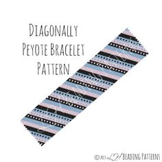 Bracelet Pattern, Diagonally Peyote Cuff Pattern, Digital PDF Pattern - Buy 4 get 1 FREE - Instant Download