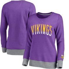 Minnesota Vikings NFL Pro Line Women's Team Essentials Latitude Clean Color Crew Neck Tri-Blend Sweatshirt - Heathered Purple