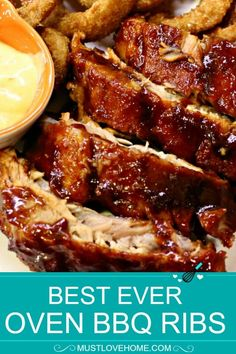 Best Ever Oven BBQ Ribs – Must Love Home Baked Spare Ribs, Oven Baked Pork Ribs, Bbq Spare Ribs, Ribs In Oven, Barbecue Ribs, Barbecue Sauce, Pork Rib Recipes, Smoker Recipes, Seafood Boil Recipes