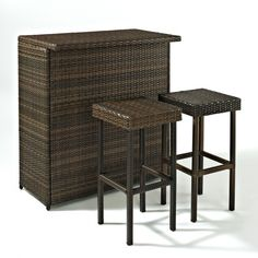 Crosley Furniture Palm Harbor 3-Piece Outdoor Bar Set-Home and Garden Design Ideas