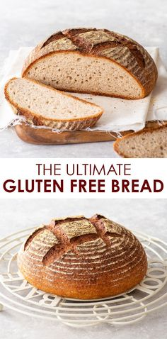 The Ultimate Gluten Free Bread Recipe (Artisan Style Loaf) - This gluten free bread is the real deal – with a soft, chewy open crumb and a deliciously crisp caramelised crust. It's super easy to prepa Easy Bread Recipes, Gf Recipes, Gluten Free Recipes, Cooking Recipes, Paleo Bread Recipe With Yeast, Gluten Free Sugar Free Bread Recipe, Glutenfree Bread Recipe, No Egg Bread Recipe, Gluton Free Bread
