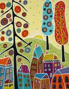 Trees Houses And A Bird Painting