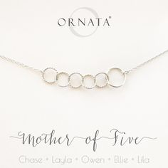 """""""Mother of Five"""" Personalized Sterling Silver Necklace 