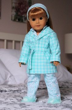 """""""Mint Meow"""" Pajamas, Robe, Hair Band & slippers by NoodleClothing on Etsy  $40.65"""